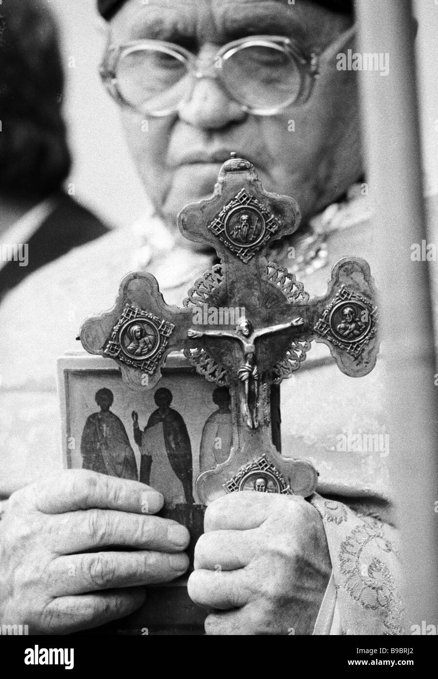 A churchman at the Ukrainian collective prayer for the Chernobyl disaster victims St Sofia cathedral - Stock Image