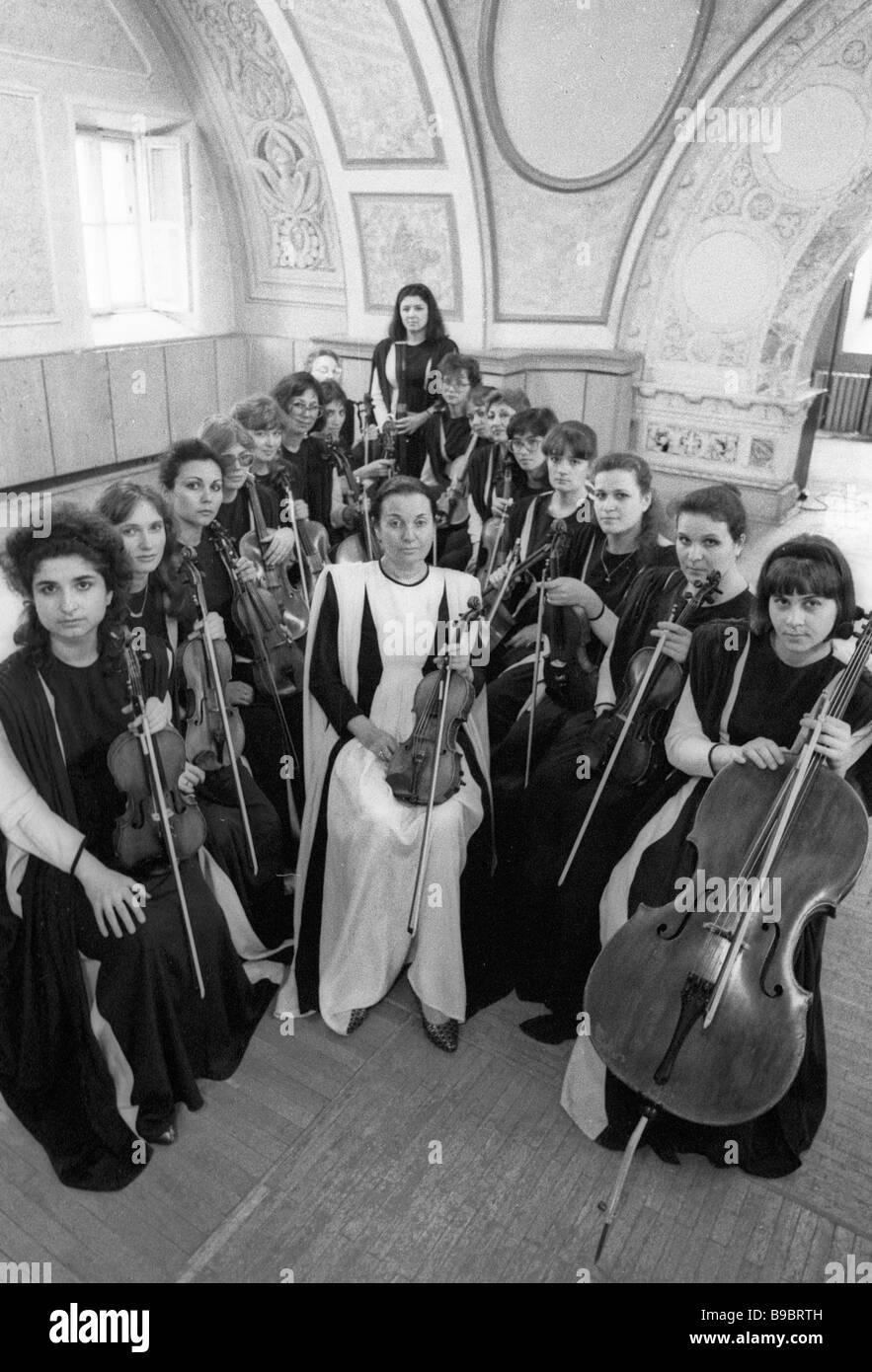 Svetlana Bezrodnaya center established the Vivaldi Orchestra i e ladies chamber orchestra - Stock Image