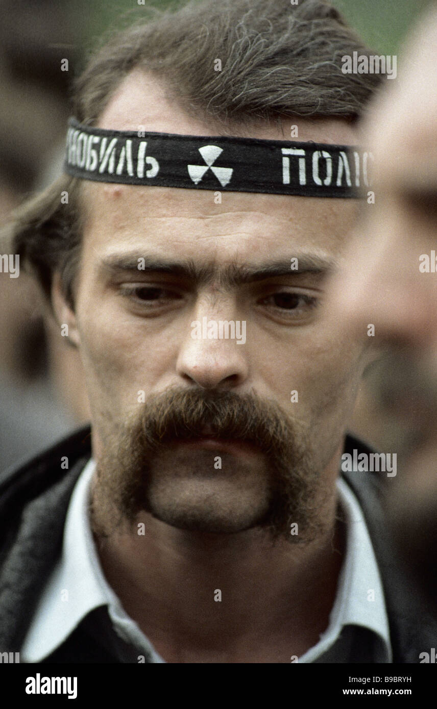 An activist of the Ukrainian popular movement Rukh at a Chernobyl disaster anniversary public rally - Stock Image