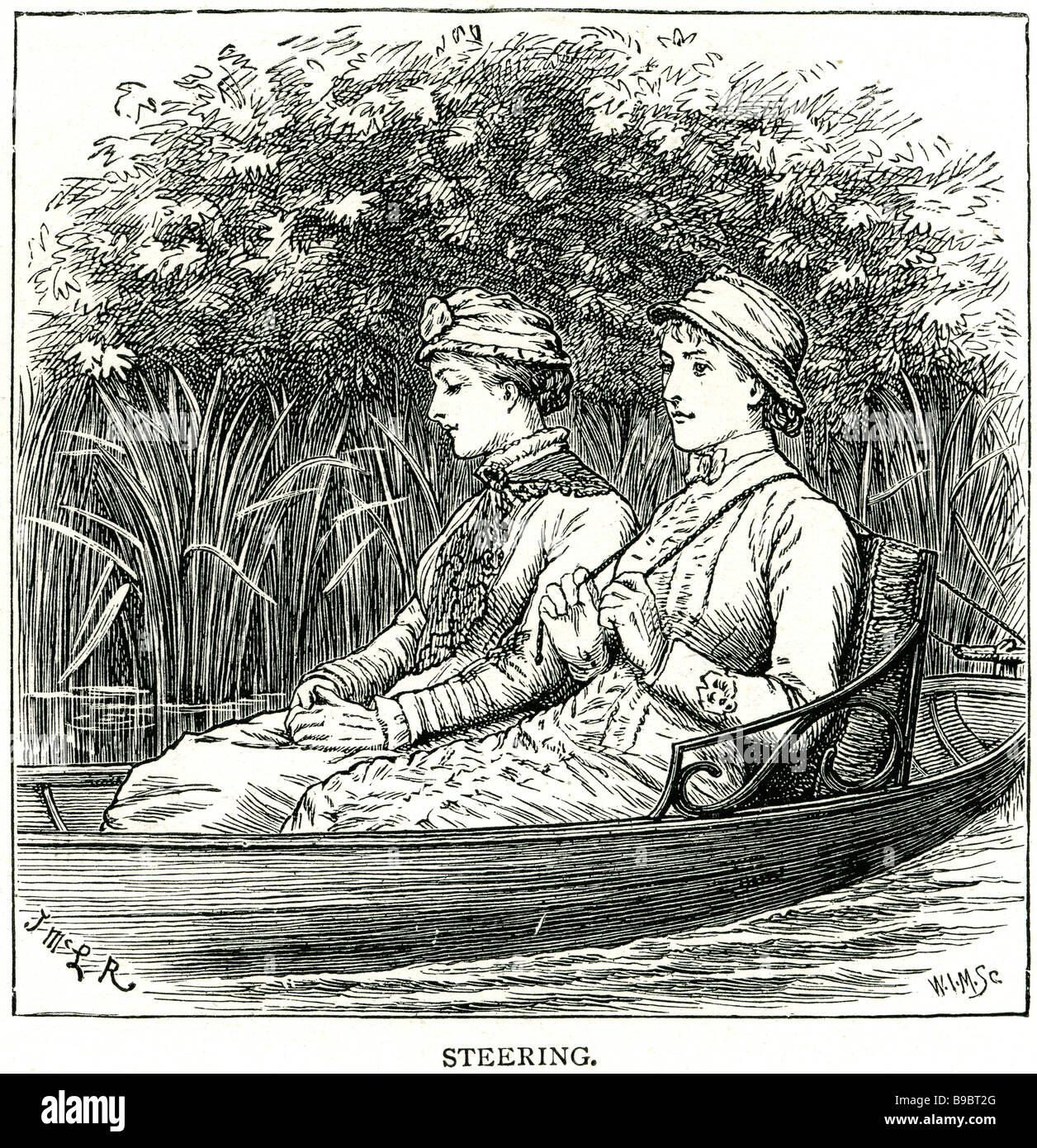 steering park lake river reeds women lady ladys boat punt rowing water countryside woodland bank sitting pleasure - Stock Image