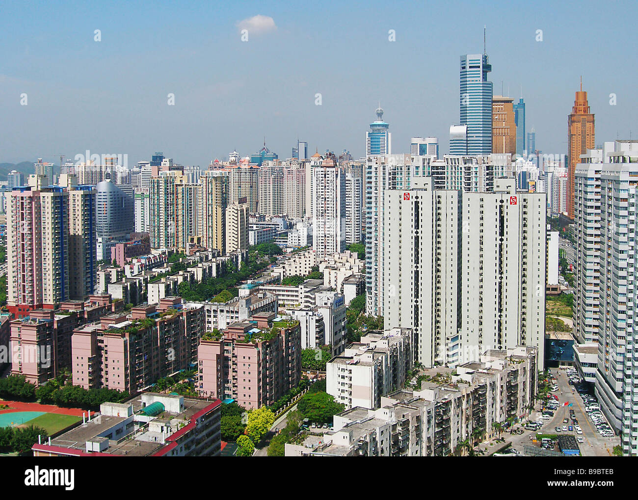 Shenzhen used to be a small Chinese fishing village The several decades since a special economic zone was established - Stock Image