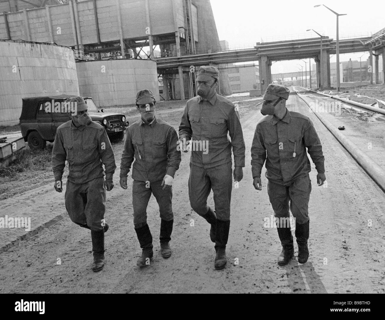 Decontamination units on the way to the Chernobyl NPP disaster scene - Stock Image