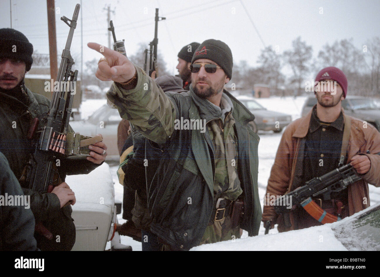 One of the Chechen opposition leaders Ruslan Labazanov center - Stock Image