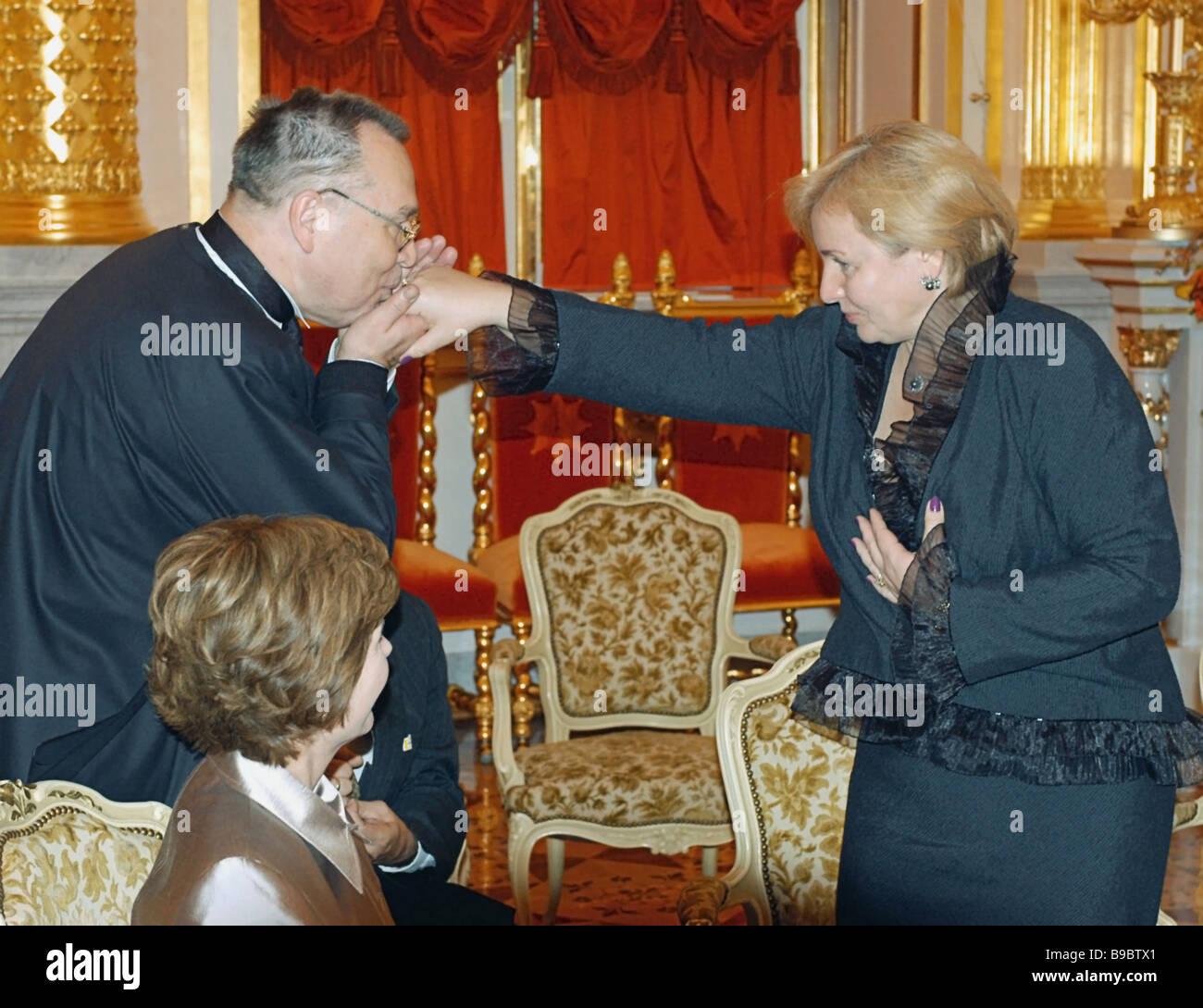 Mrs Lyudmila Putin The Wife Of Russian President Vladimir Putin Right Stock Photo Alamy