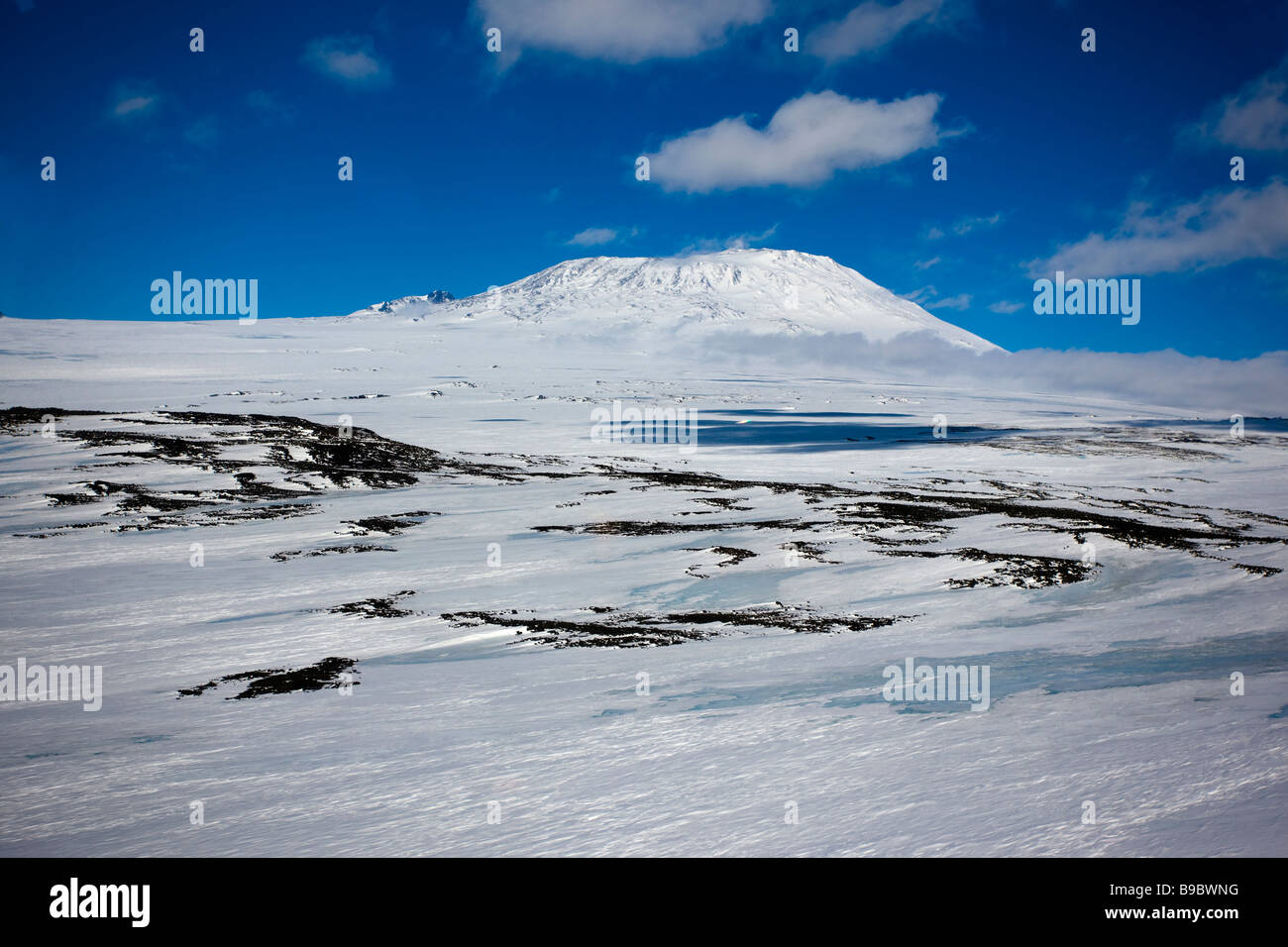 Antarctica Mount Erebus From The Air Aerial Stock Photo