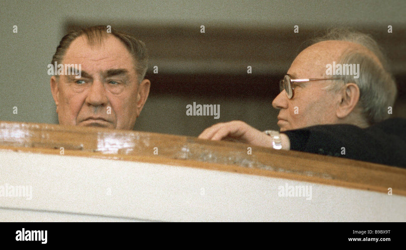 The USSR Defense Minister Dmitry Yazov left and the USSR KGB chairman Vladimir Kryuchkov right at the 1st congress - Stock Image