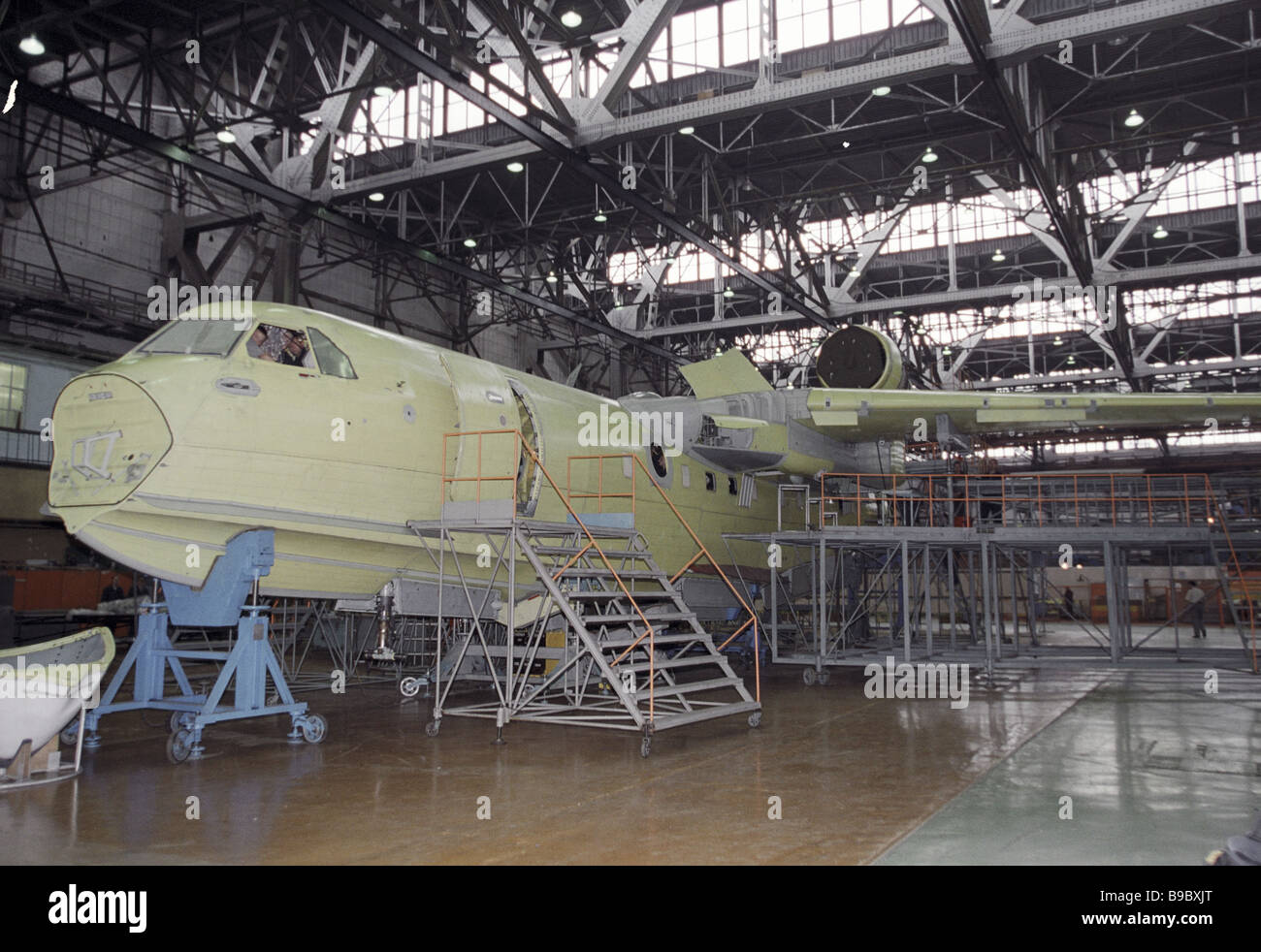 Assembling Beriyev Be 200 flying boats at science and production corporation Irkut - Stock Image