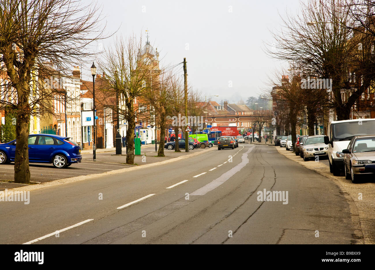 View along the High Street in Hungerford Berkshire England UK with the Town Hall in the distance - Stock Image