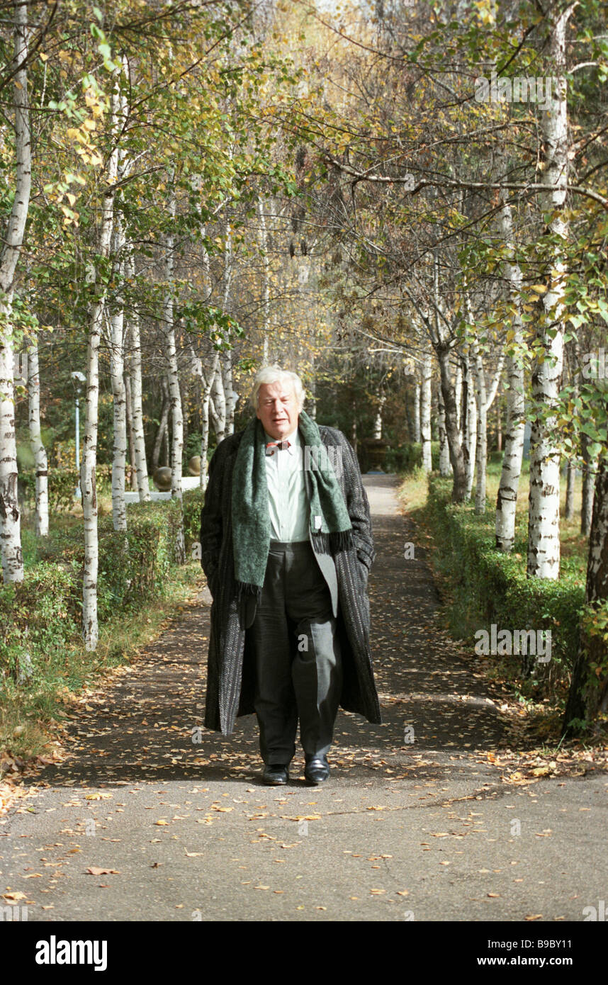 A famous British actor producer playwright and publicist Peter Ustinov in the park during the Issyk Kul Culture - Stock Image