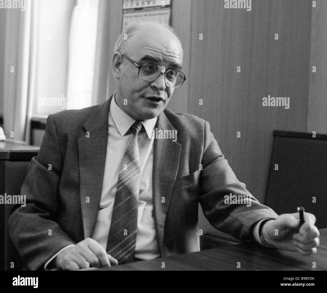 Head of the KGB PR center Major General Alexander Karabanov - Stock Image