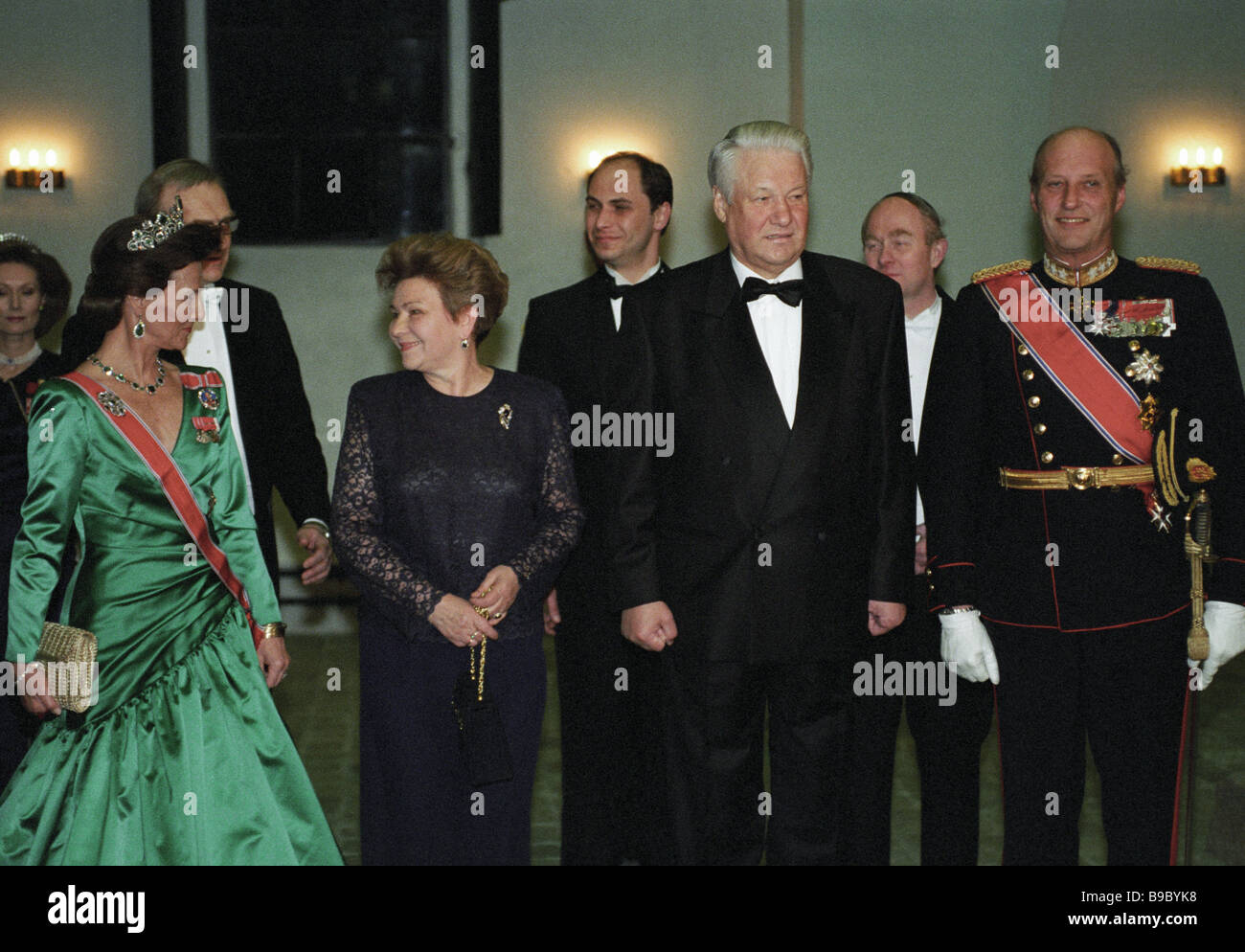An official dinner by King of Norway Harald V right and Queen Sonia left in honour of Russian President Boris Yeltsin - Stock Image