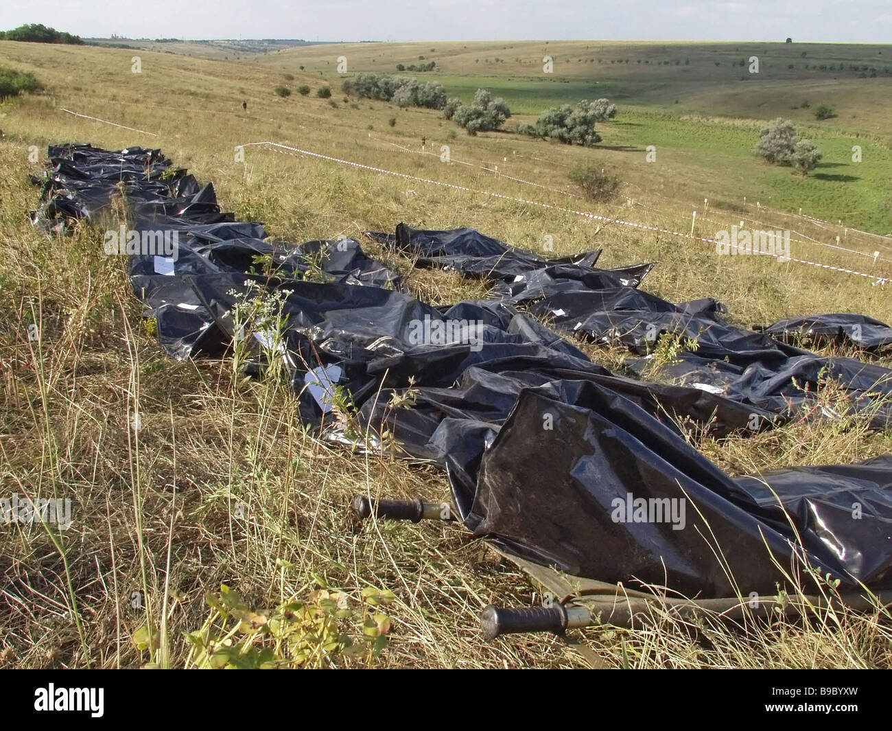 At the site of the TU 154 Pulkovo Airlines air crash near Donetsk in eastern Ukraine - Stock Image