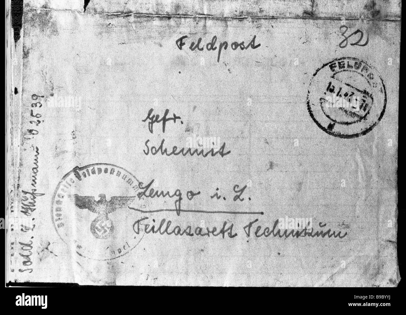 A letter written by a Wehrmacht soldier is kept in the state central archive of the USSR - Stock Image