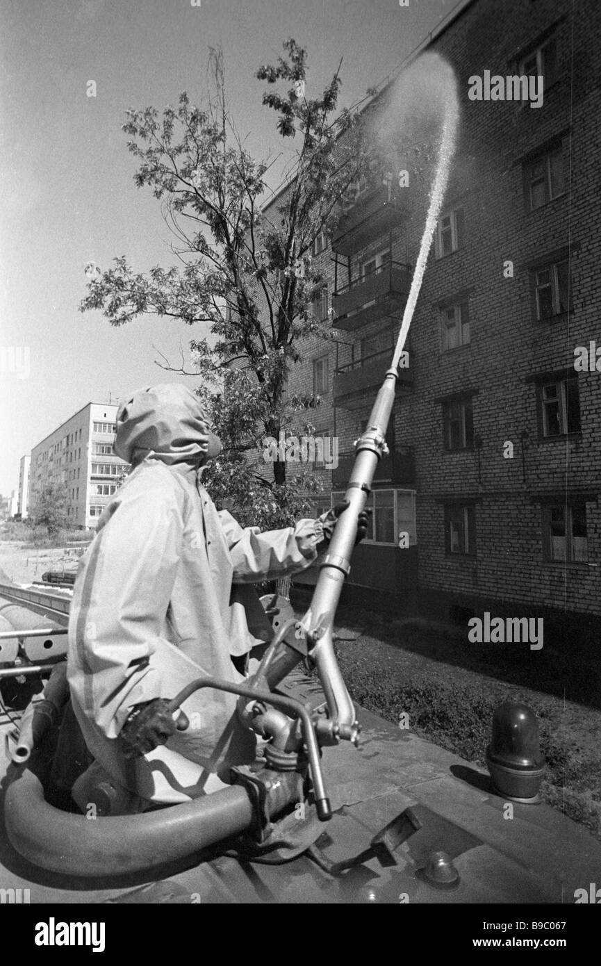 Decontamination of apartment houses in Chernobyl after the accident - Stock Image