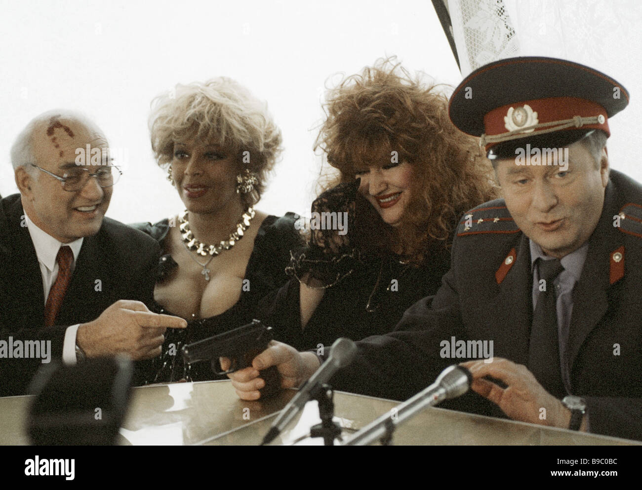 The LDPR leader Vladimir Zhirinovsky and look alike actors of prominent personalities at shooting the film Ship - Stock Image