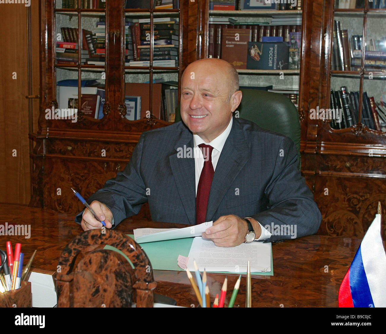 Russian Prime Minister Mikhail Fradkov radiant after signing next year s draft federal budget - Stock Image