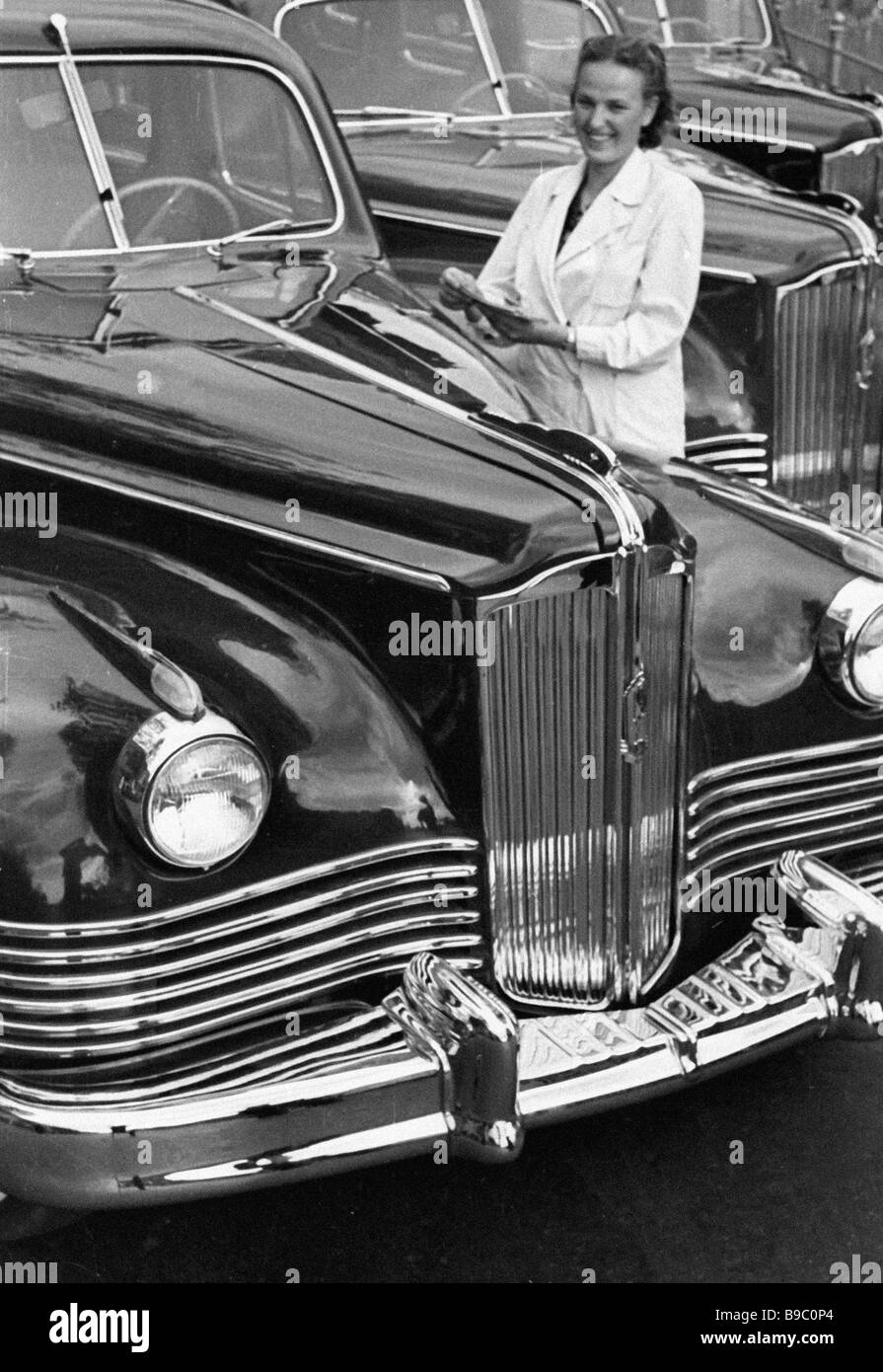 ZIS 110 limousines in the car making shop of the Likhachev Automobile Factory in Moscow Stock Photo