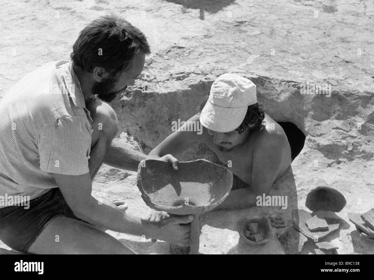 Members of an archaeological expedition of the Archaeology Institute of the Ukrainian Academy of Sciences during - Stock Image