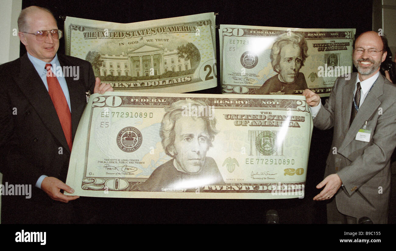 Presentation of a new 20 bill with new security features - Stock Image