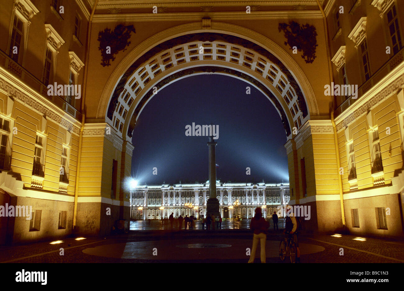 The Triumphal Arch of the General Staff building St Petersburg - Stock Image