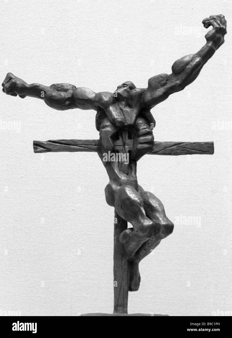 A bronze Crucifixion by Ernst Neizvestny - Stock Image