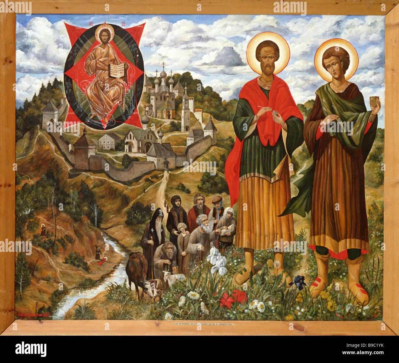 Father Sergius Simakov Sts Cosmas and Damian the Anargyroi Icon 20th century - Stock Image