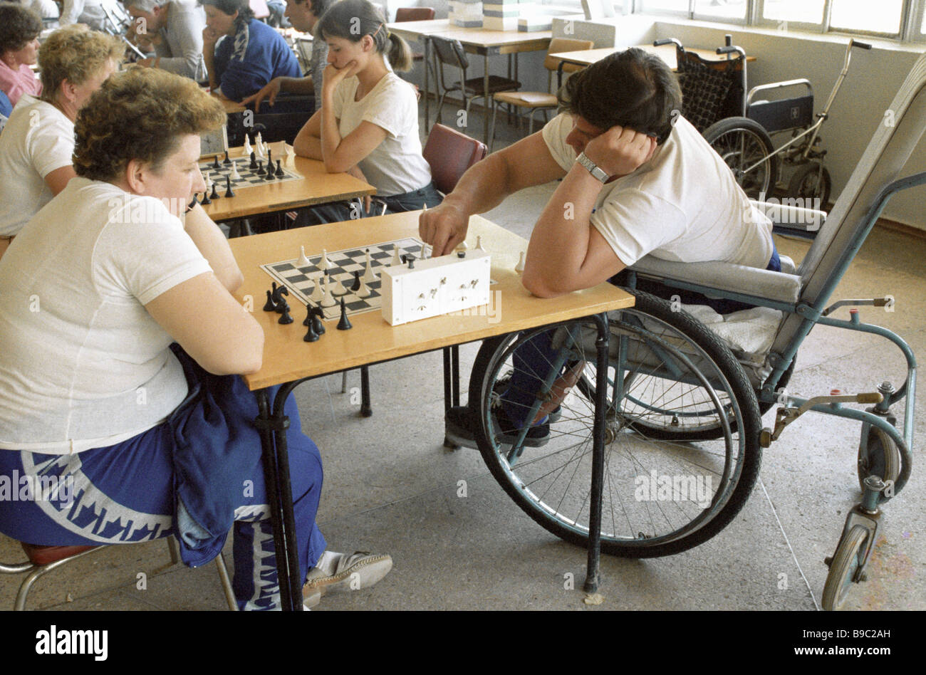 Chess battles at the All Union Games for sportsmen with disabilities - Stock Image