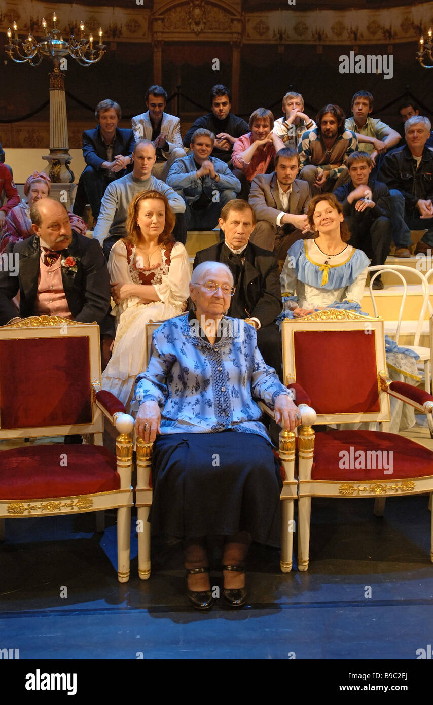 People s actress of Russia Tatyana Pankova at a rehearsal of a play dedicated to the Russian Small academic theatre - Stock Image