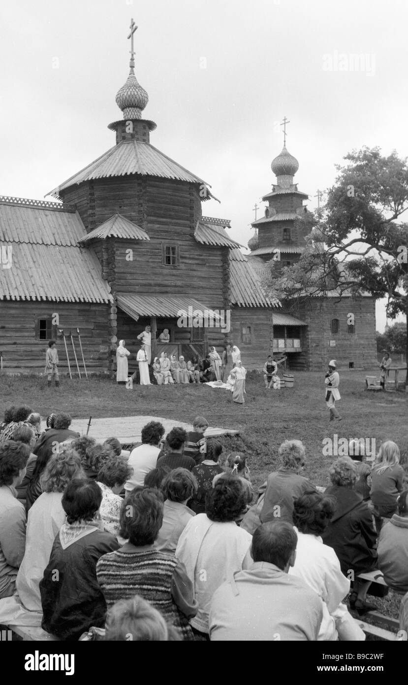 Actors of the Vladimir Drama Theater in play The Great Reign at the Museum of Wooden Architecture and Peasant Life - Stock Image