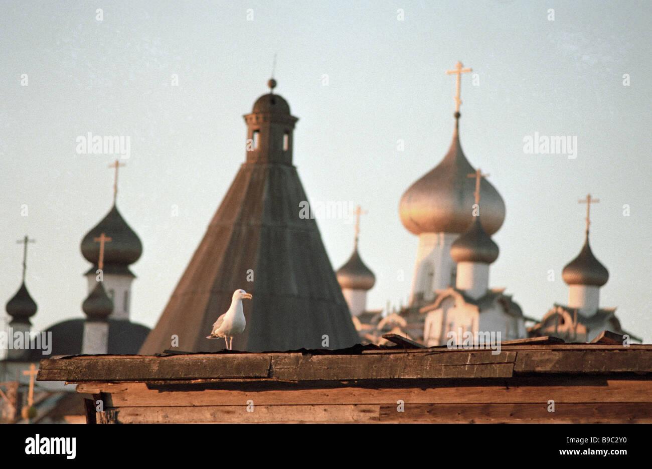 Cupolas of the Solovetsky Kremlin - Stock Image