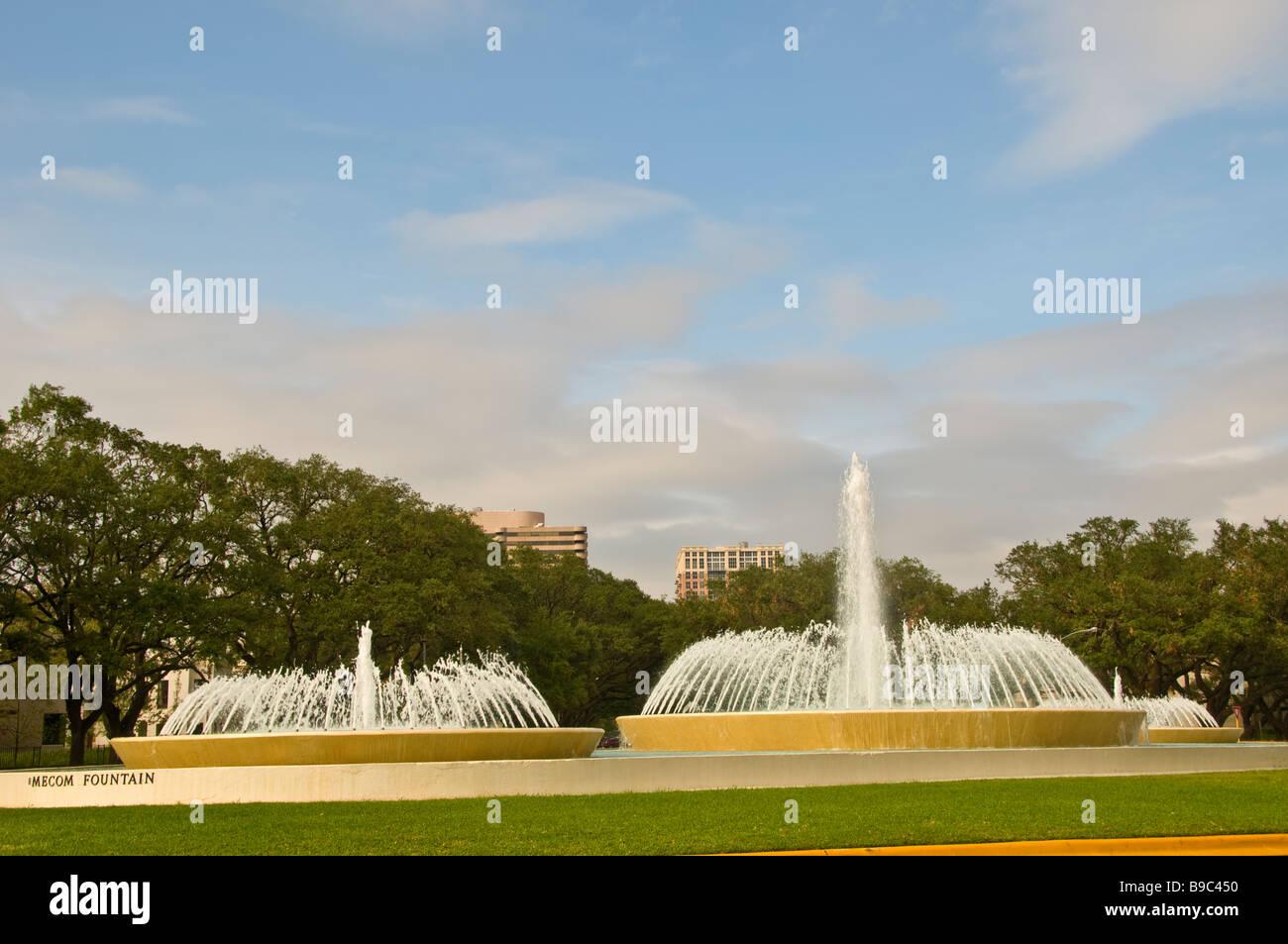 Mecom Fountain museum district Houston Texas tx city landmark fountain shooting water  Main Street at Montrose Boulevard - Stock Image