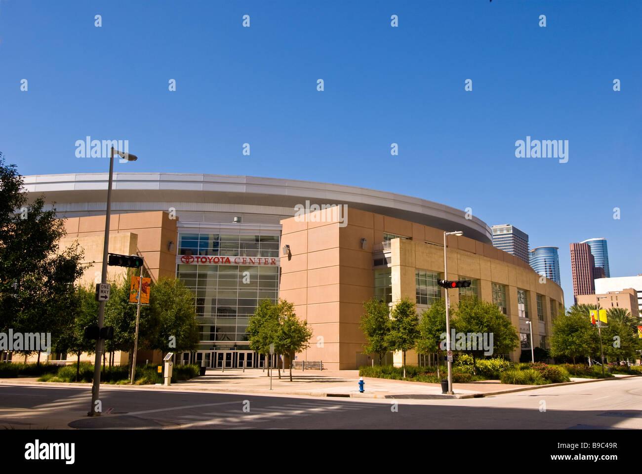 Houston Toyota Center exterior texas sports arena NBA Houston Rockets AHL Houston Aeros round building architectre - Stock Image