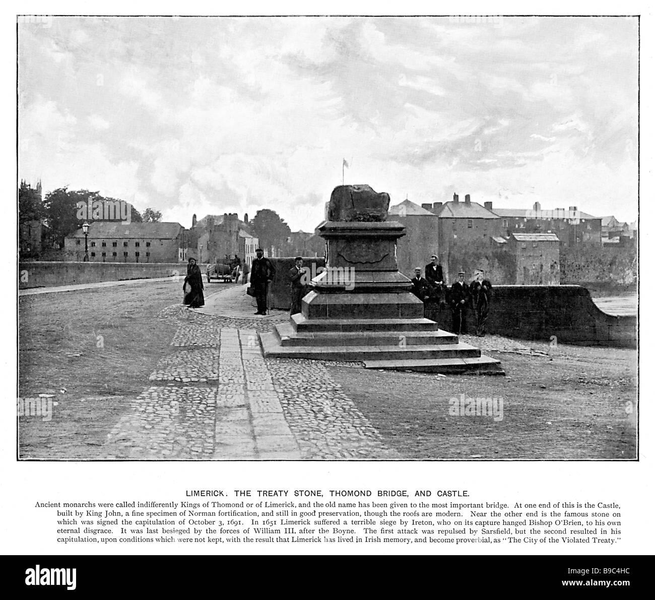 Thomond Bridge Limerick 1901 photo of the bridge over the Shannon and the treaty stone of 1691 - Stock Image