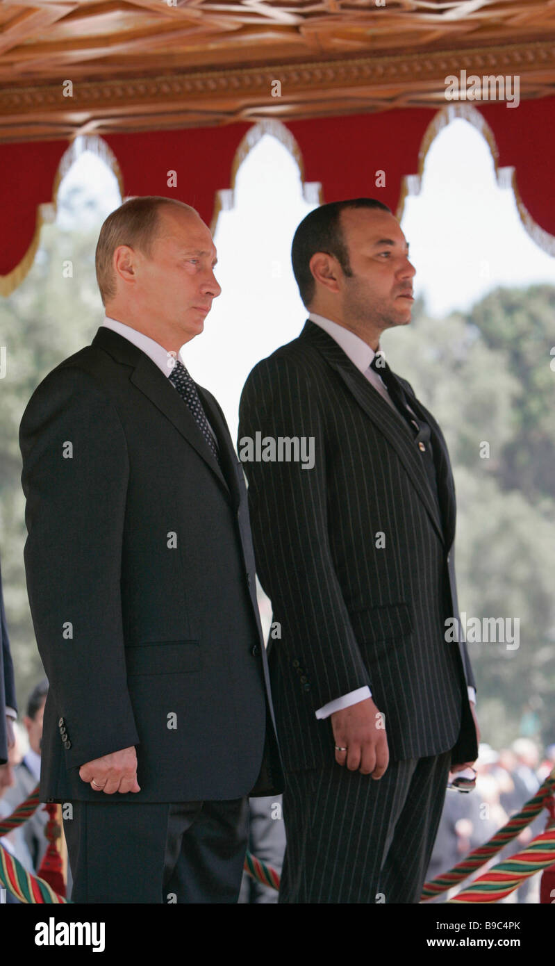 Russian President Vladimir Putin and Moroccan King Mohammed VI left to right Casablanca - Stock Image