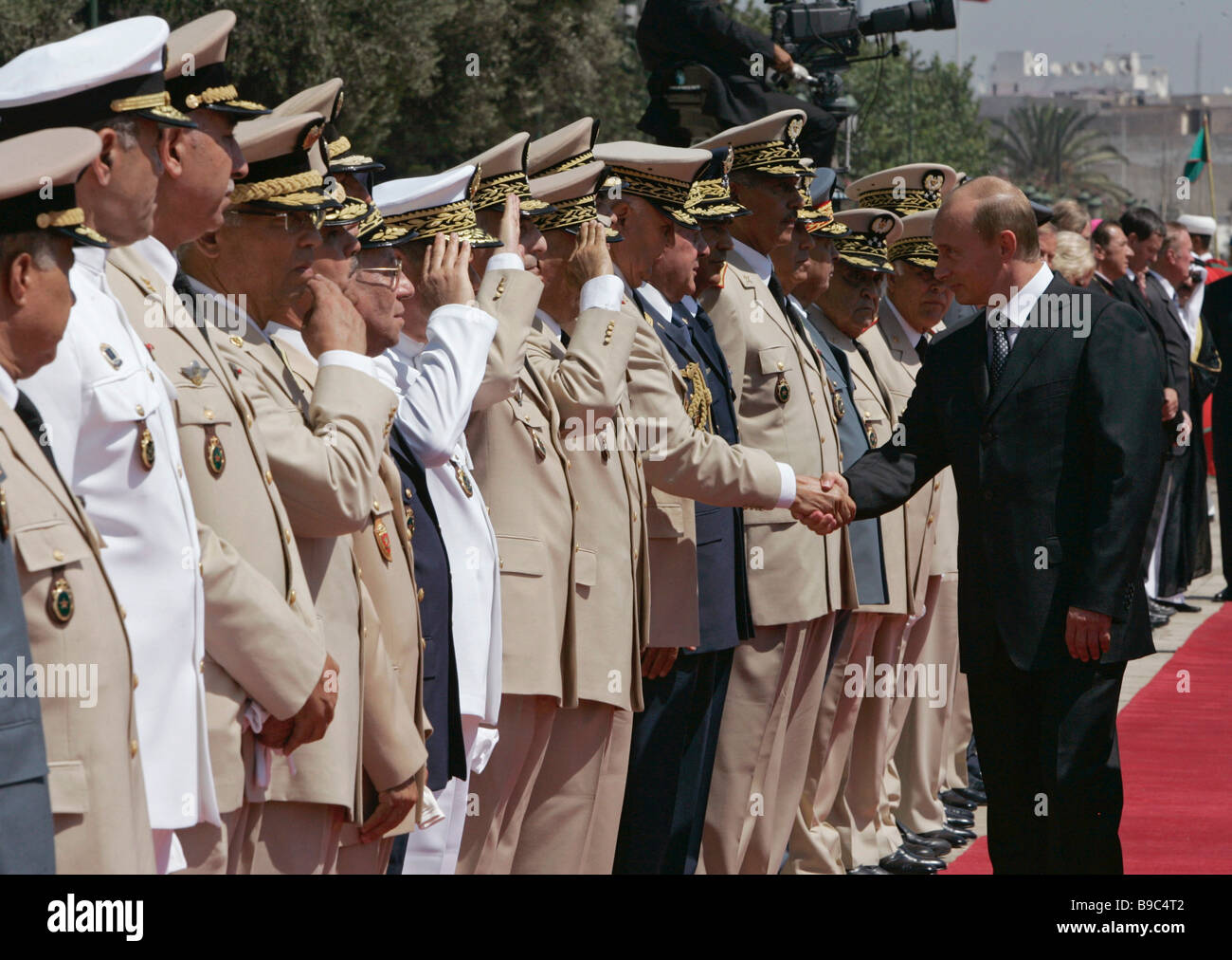 Russian President Vladimir Putin left during an official ceremony of meeting Casablanca - Stock Image