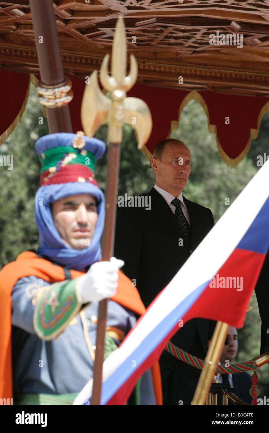Russian President Vladimir Putin during an official ceremony of meeting in Casablanca - Stock Image