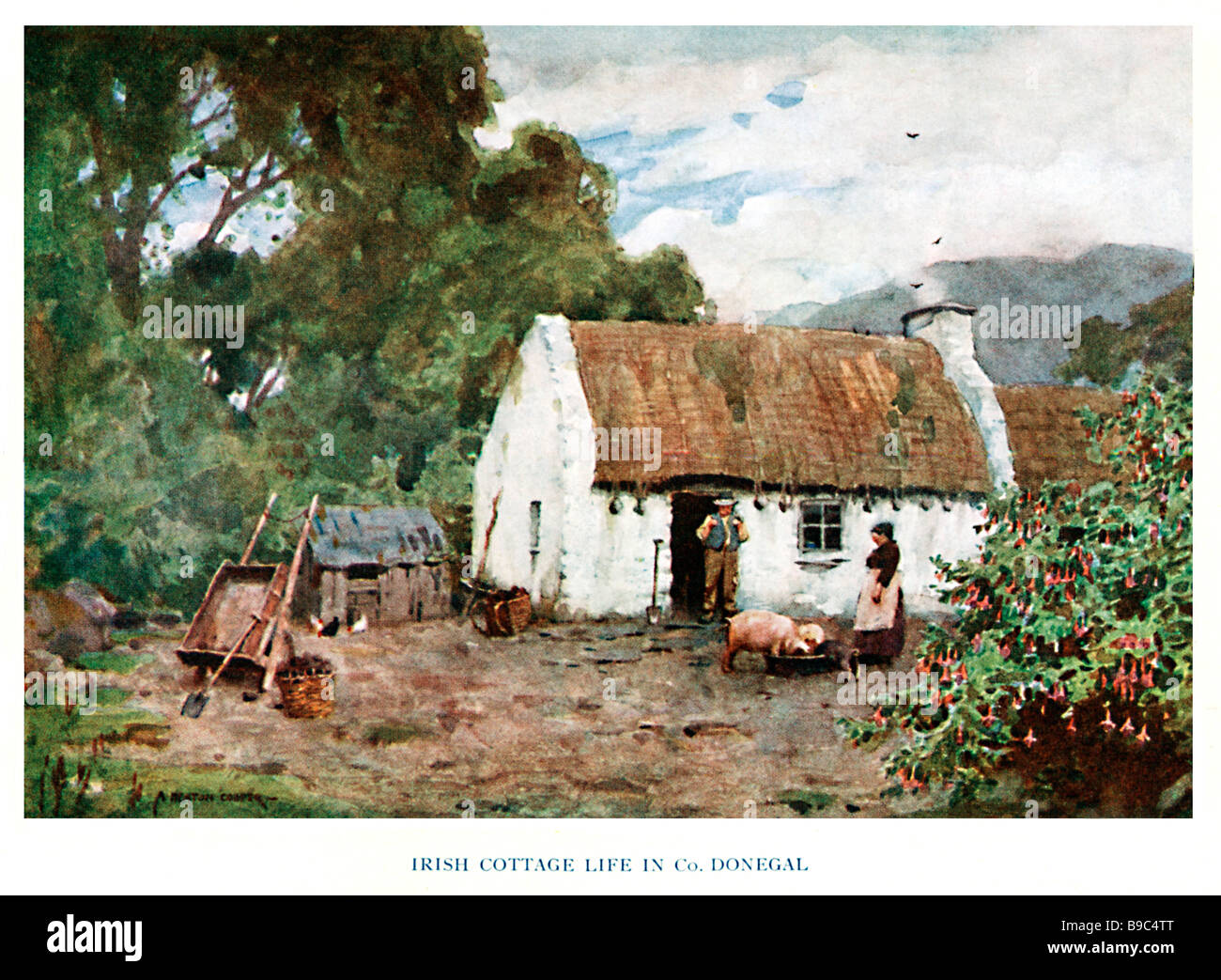 Cottage Donegal 1925 painting of rural life on a smallholding in North West Ireland pigs and chickens in the yard - Stock Image