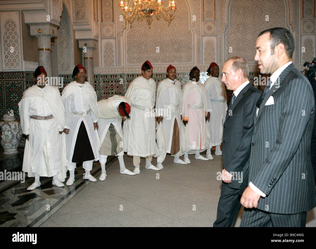 Russian President Vladimir Putin right and Moroccan King Mohammed VI Casablanca - Stock Image