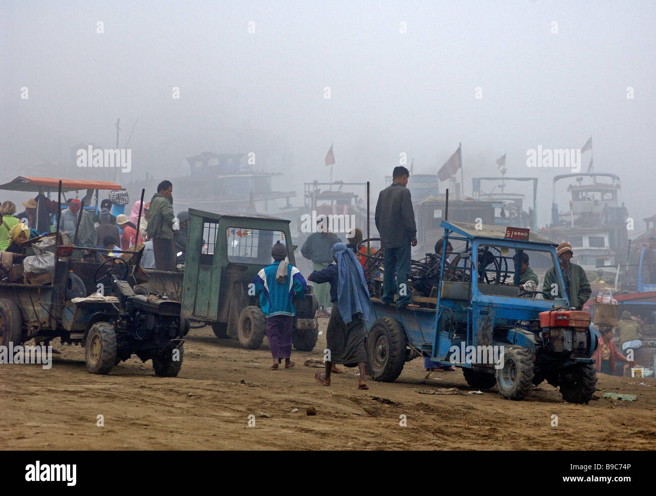 Scene in the early morning at the ferry station of Mandalay Myanmar - Stock Image