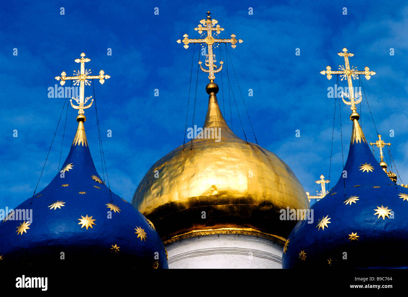The cupolas of the Assumption Cathedral at the Holy Trinity Monastery of St Sergius in the Moscow environs the principal - Stock Image