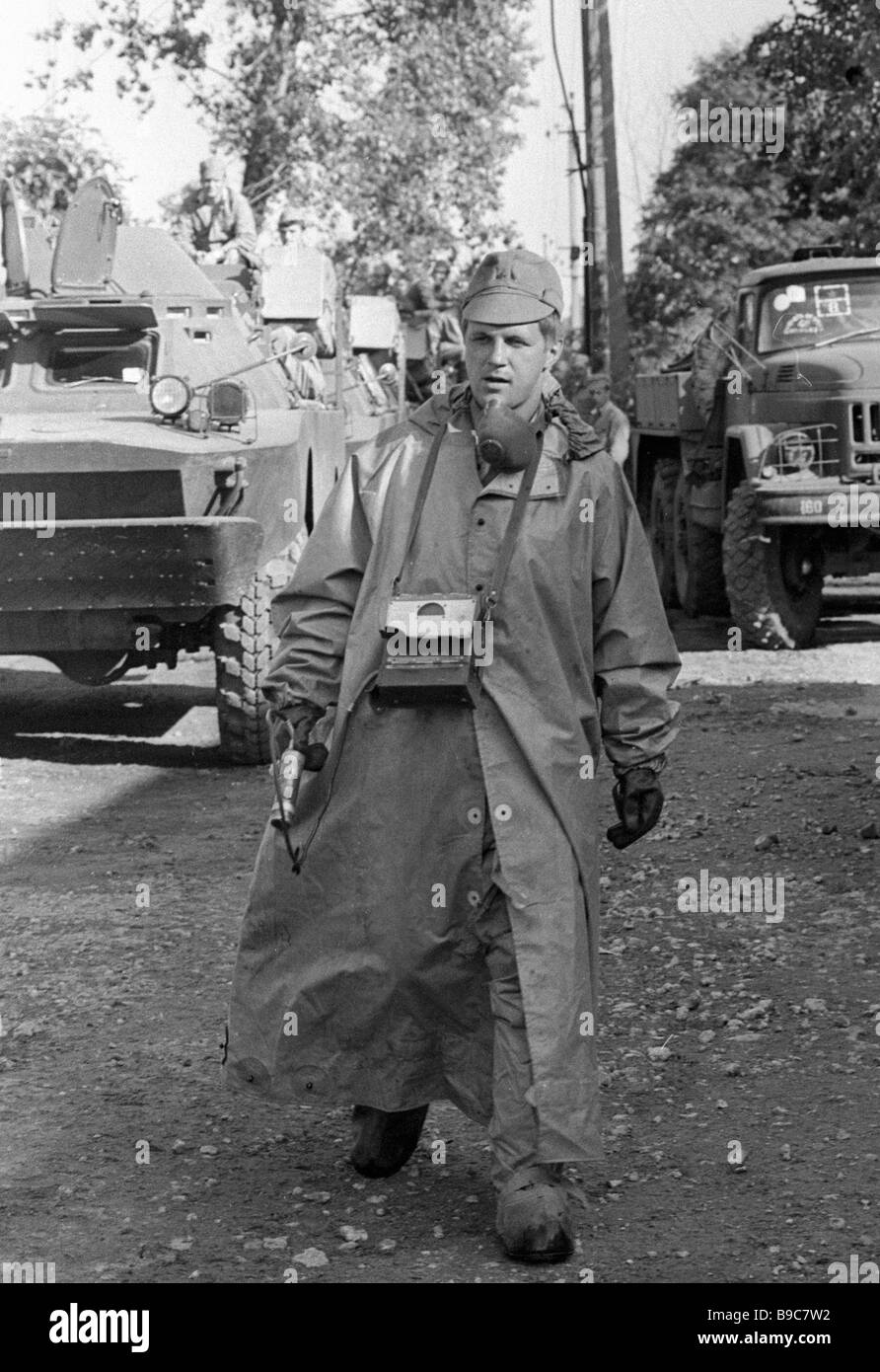 A soldier of the USSR s armed forces assigned to decon operations at the site of the disaster in Chernobyl s 4th - Stock Image