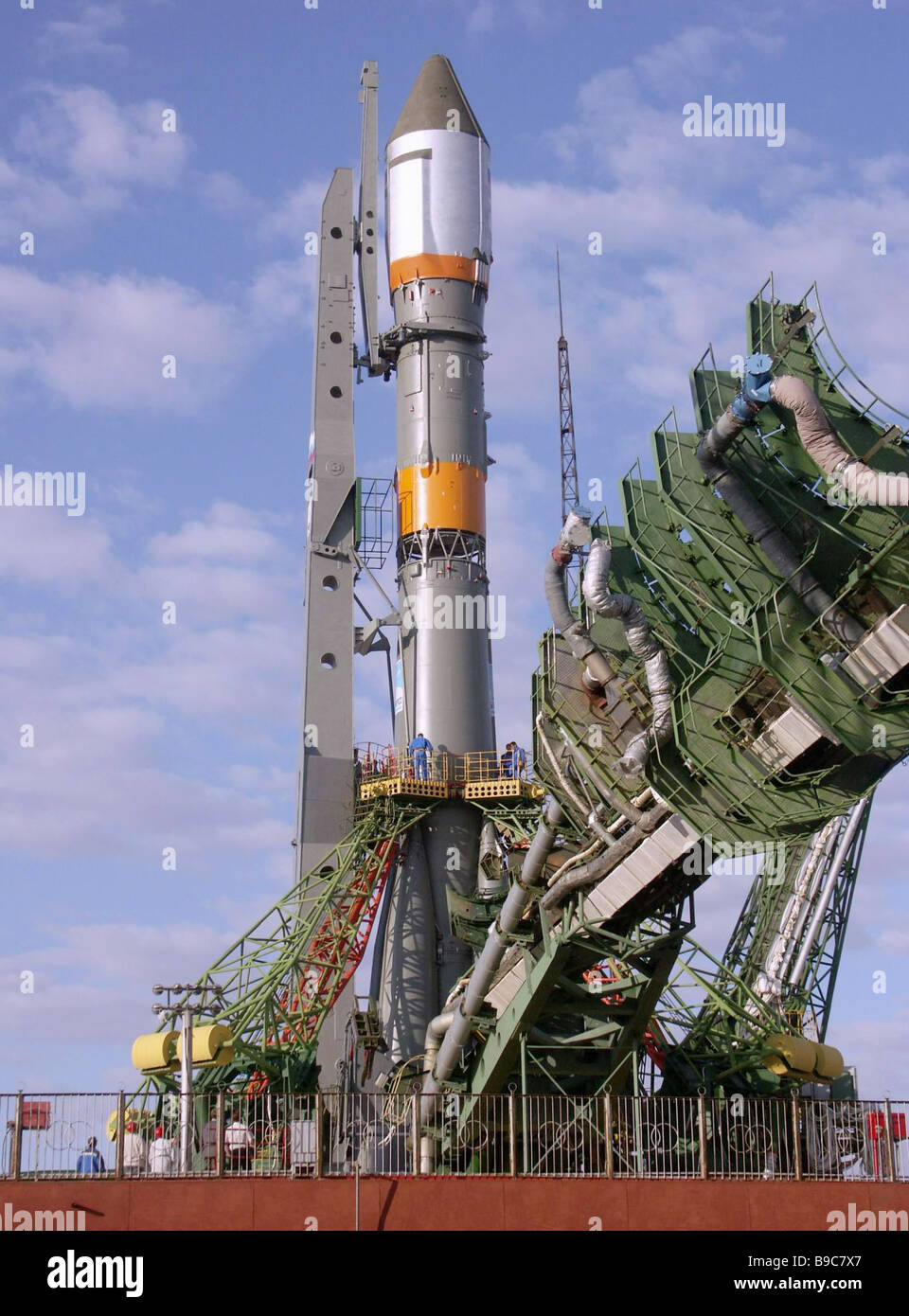 Carrier rocket Soyuz U bound to put into orbit a Kosmos spacecraft on the Baikonur launch complex - Stock Image