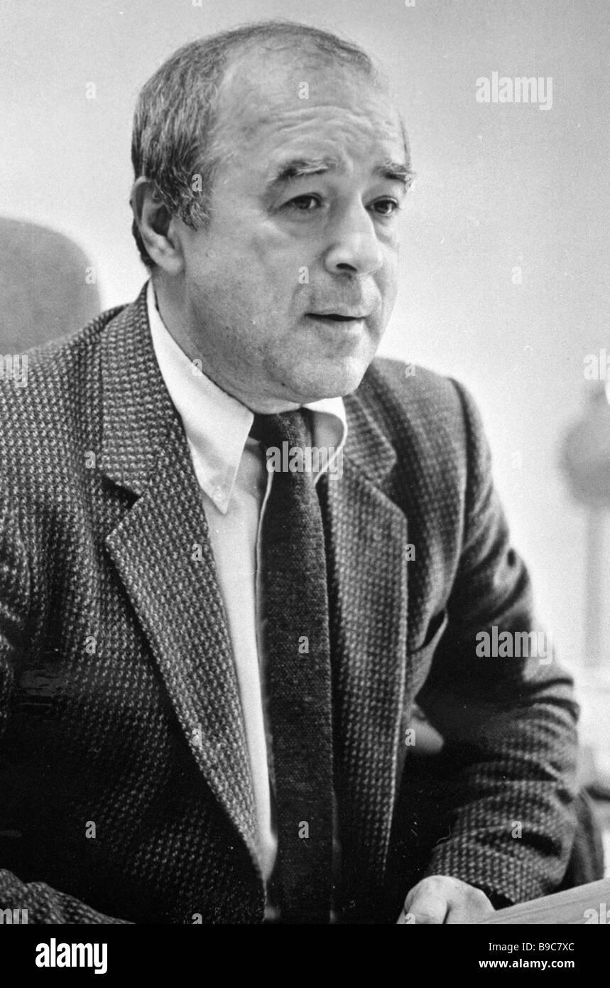 Ogonyok magazine editor in chief soviet writer vitaly korotich stock image