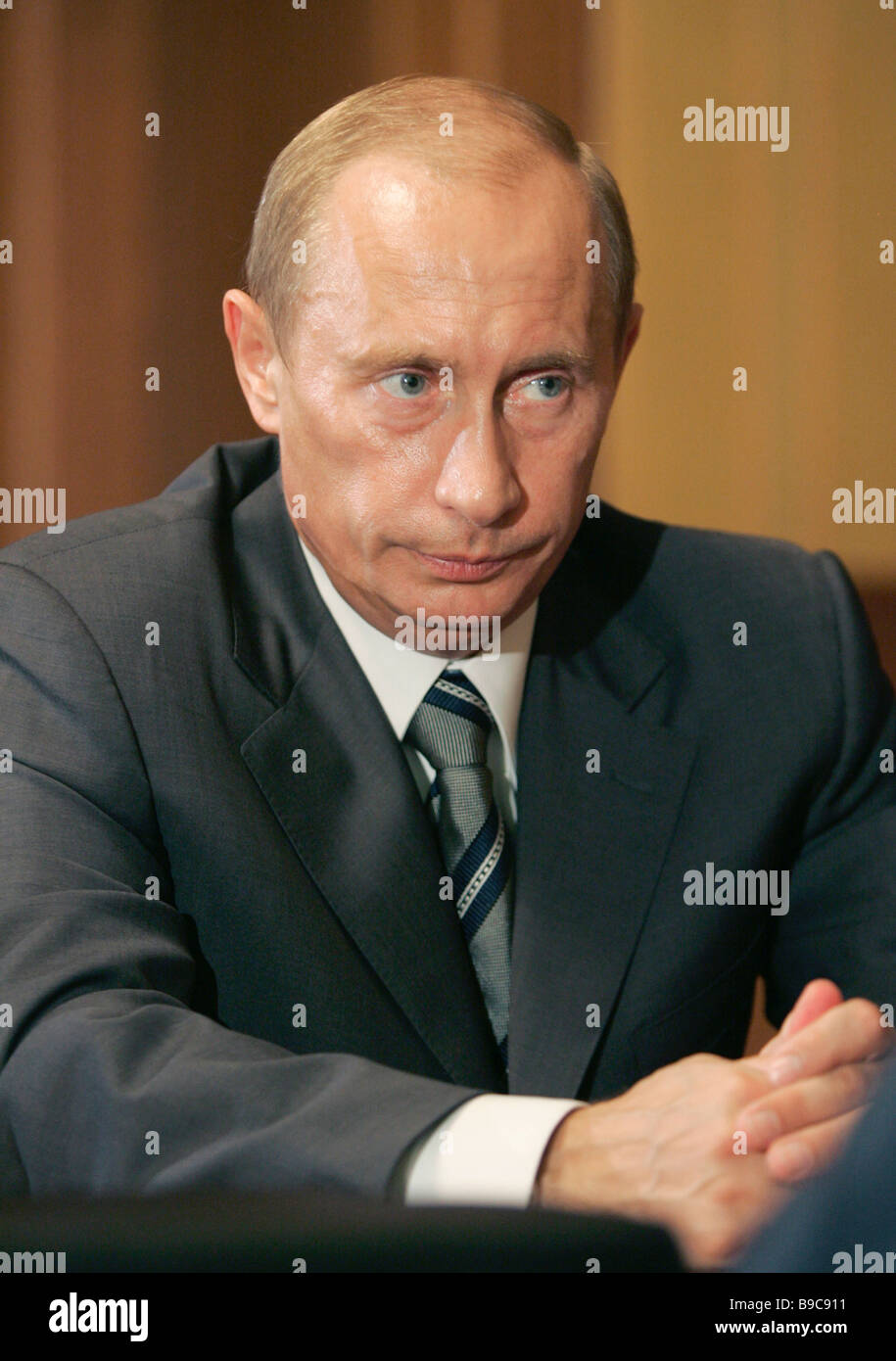 Russian President Vladimir Putin during the meeting discussing the ways of fighting economic crimes - Stock Image