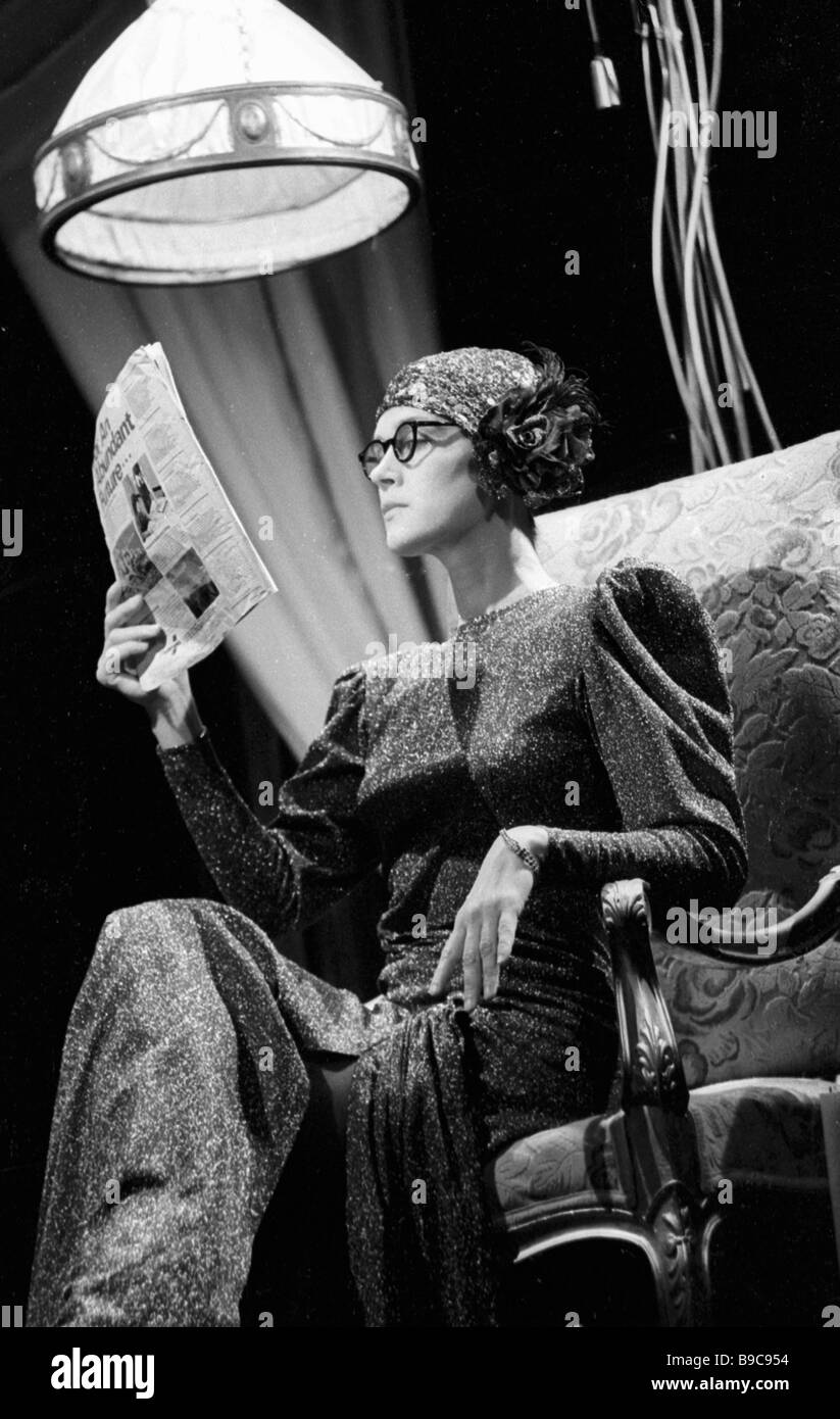 Actress Irina Alfyorova in the play Pocket Theater based on Jean Cocteau works Moscow s Lenin Komsomol Theater - Stock Image