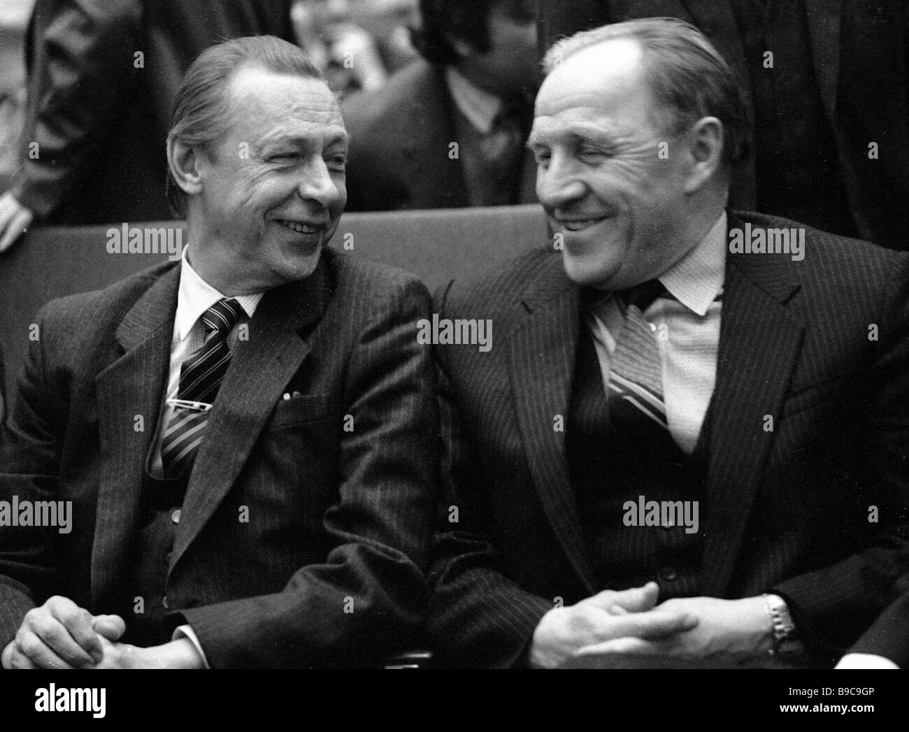 People s Artists of the U S S R Oleg Yefremov left and Mikhail Ulyanov right received 1983 U S S R State Prize - Stock Image