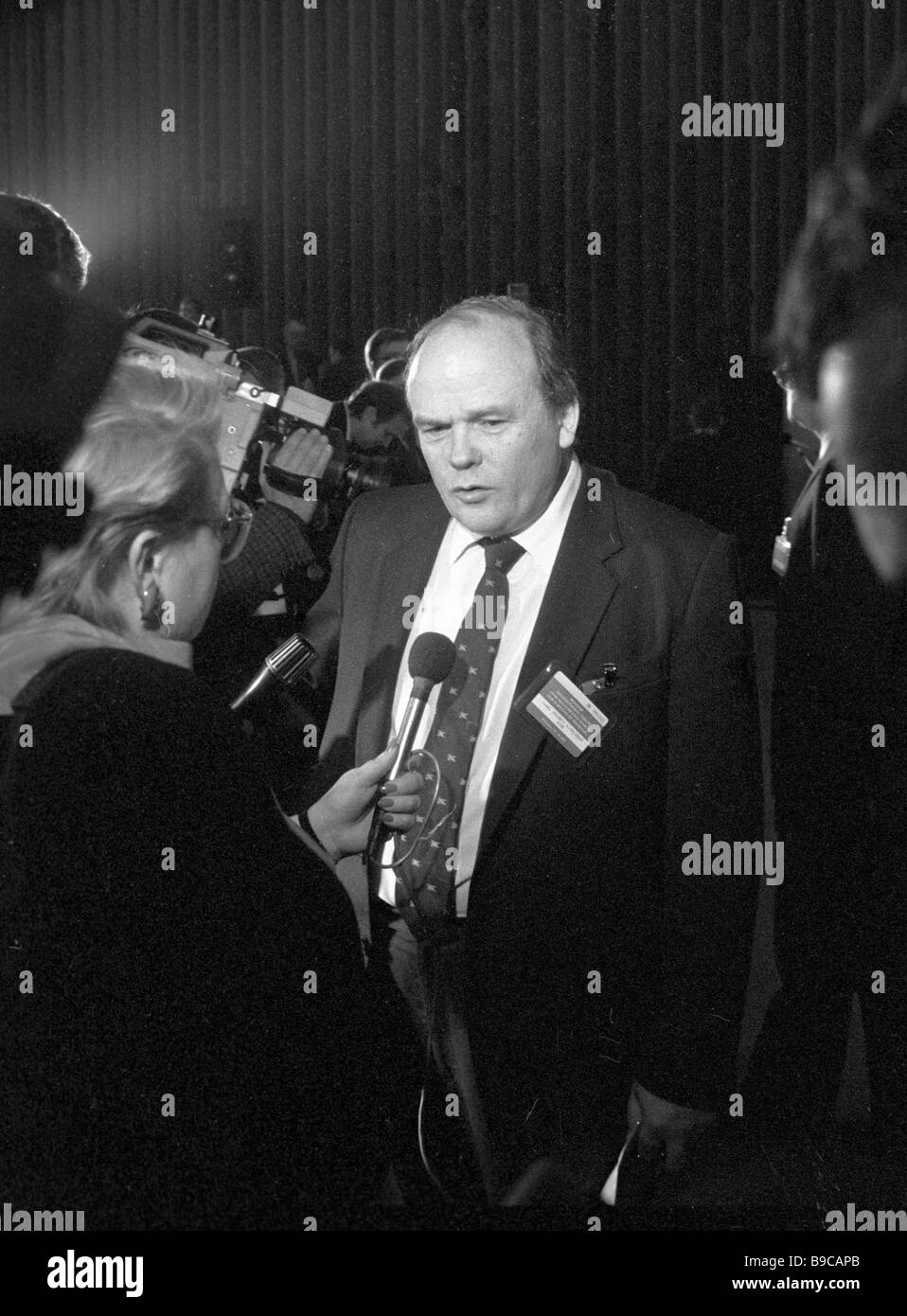 Academician Yevgeny Velikhov top notch Soviet physicist talks to journalists at the international Forum for Nuclear - Stock Image