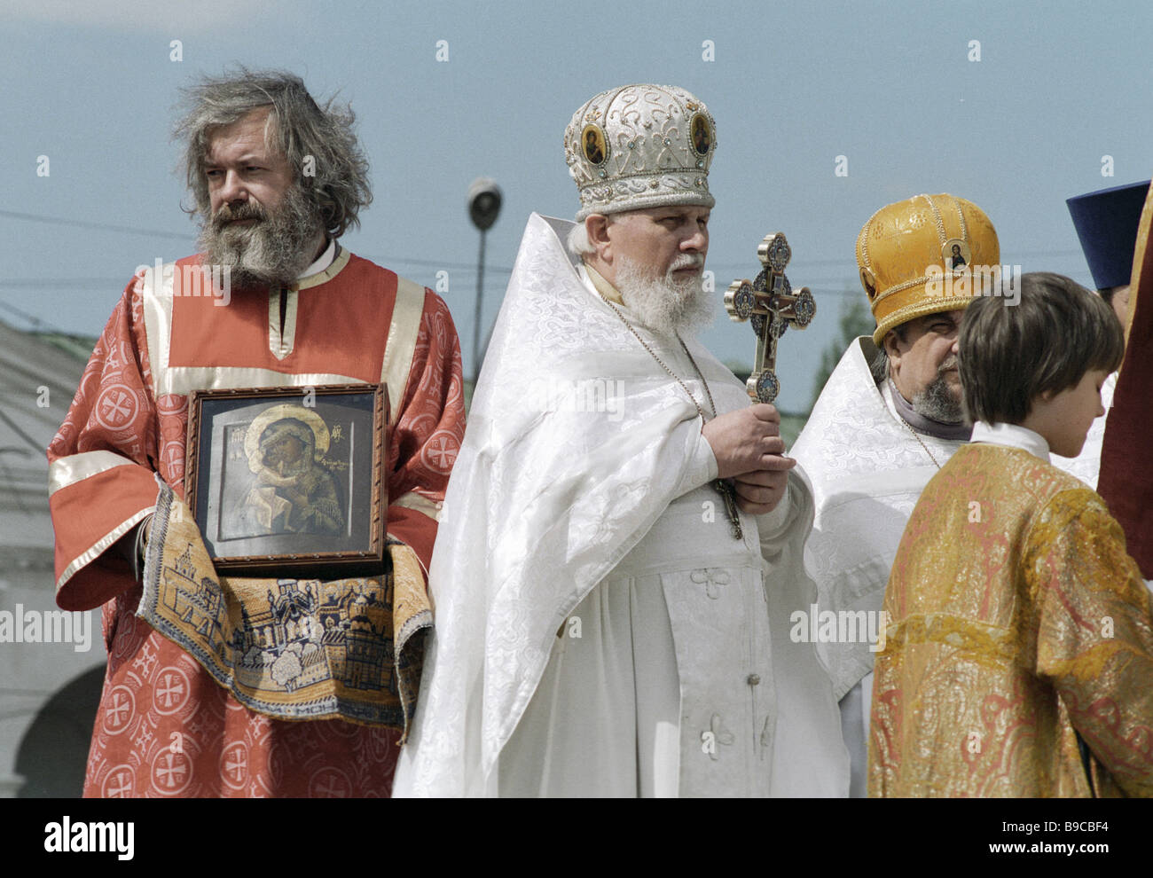 Slavonic script festival Icon bearing procession with the Theodorovskaya icon of the Mother of God from the Theophany - Stock Image