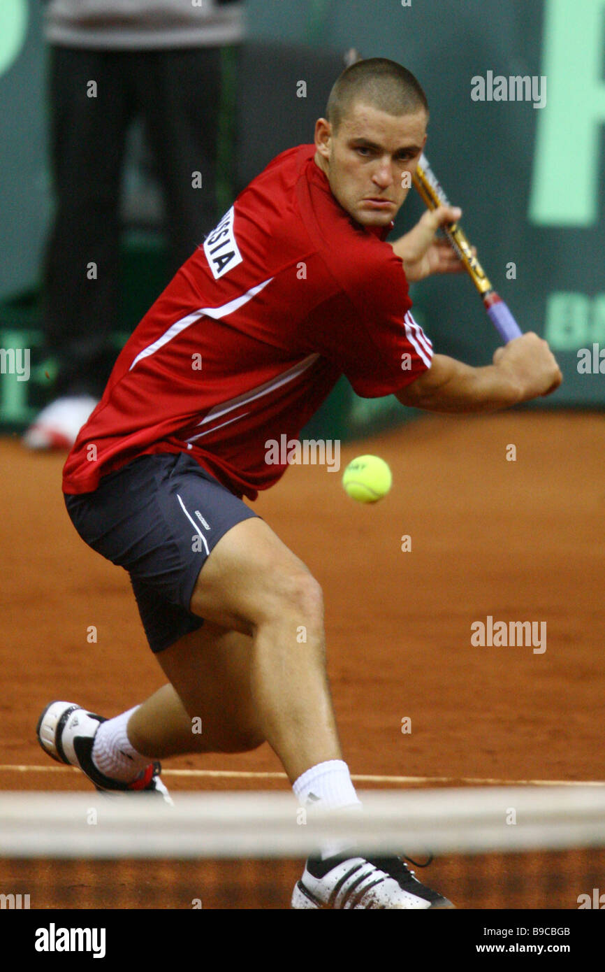 Russia s Mikhail Yuzhny in a victorious meet with James Blake of the U S in Davis Cup semifinals Moscow - Stock Image