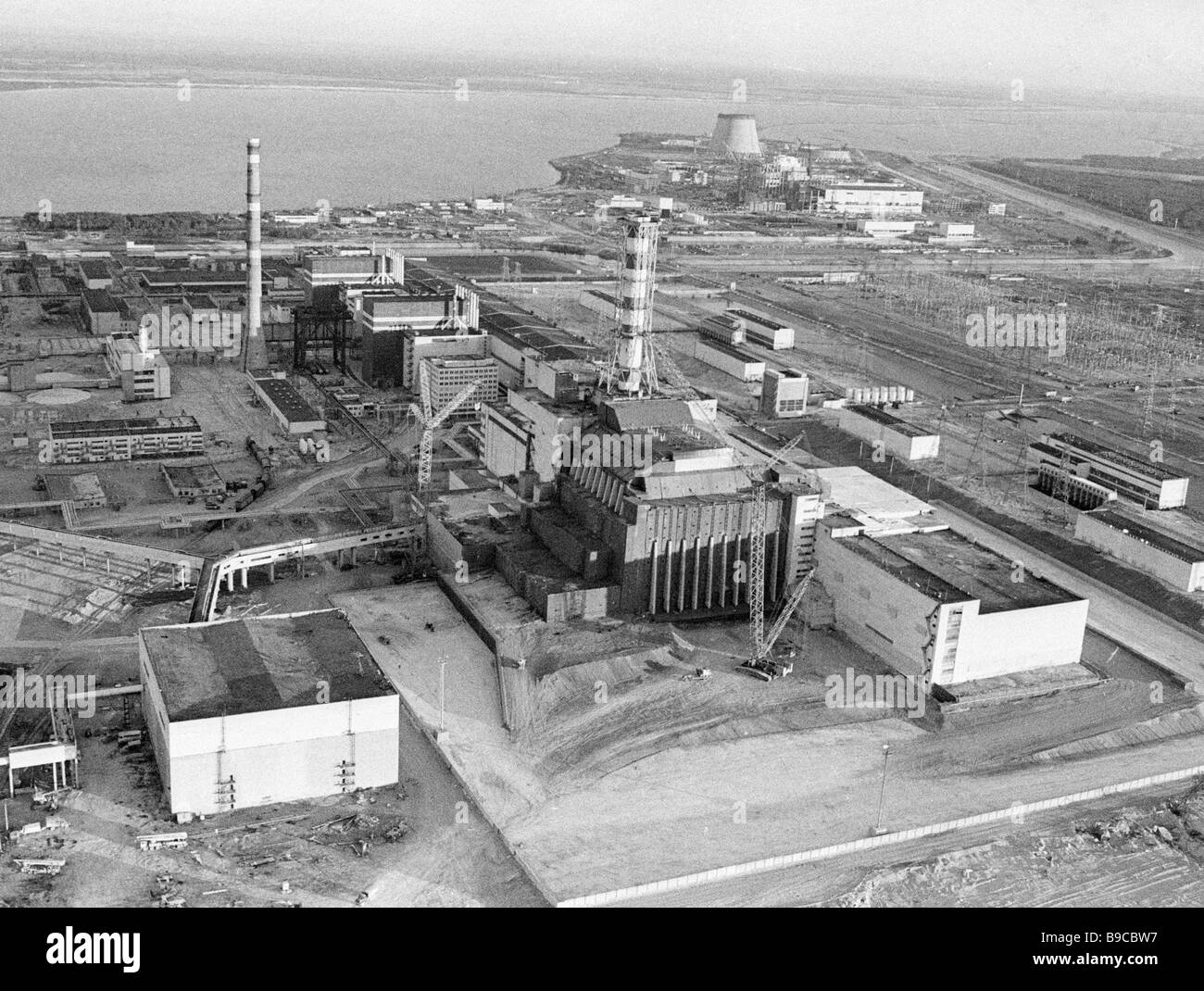 Panorama of the Chernobyl nuclear power plant - Stock Image